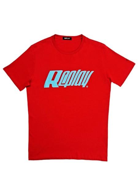Camiseta Manga Corta Hombre Replay Logo Retro ROJO